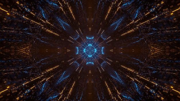 Futurystyczne Abstrakcyjne Tło Science-fiction Z Pikselami Z Niebieskimi I żółtymi światłami Darmowe Zdjęcia