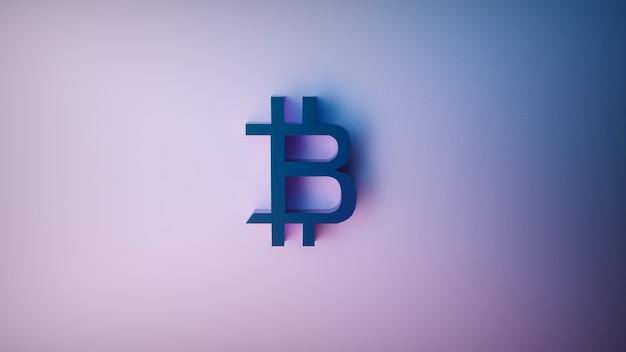 Futurystyczne Renderowanie 3d Znaku Bitcoin Na Fioletowym Tle Darmowe Zdjęcia