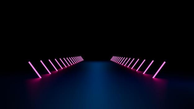 Futurystyczne światło Neonowe Sci Fi W Pustej Ciemności. Renderowania 3d Premium Zdjęcia