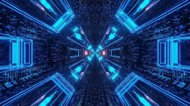 Futurystyczny Korytarz Tunelu Science-fiction Z Liniami I Neonowymi Niebieskimi I Czerwonymi światłami Darmowe Zdjęcia