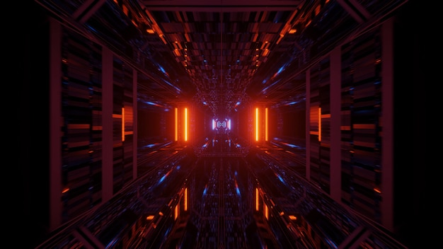 Futurystyczny Korytarz Tunelu Ze świecącymi Neonami, Tapeta W Tle Renderowania 3d Darmowe Zdjęcia