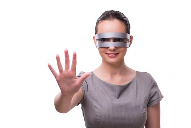 Futurystyczny Pojęcie Z Techno Cyber Kobietą Odizolowywającą Na Bielu Premium Zdjęcia
