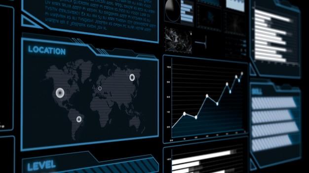 Futurystyczny Pulpit Nawigacyjny Interfejsu Użytkownika Do Analizy Dużych Zbiorów Danych Na Wykresie Informacyjnym Premium Zdjęcia