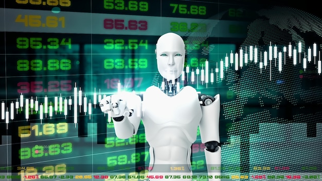 Futurystyczny Robot, Sztuczna Inteligencja Cgi Do Handlu Na Giełdzie Premium Zdjęcia