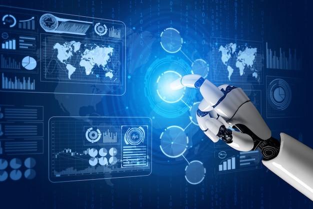 Futurystyczny Robot Sztucznej Inteligencji Koncepcja. Premium Zdjęcia