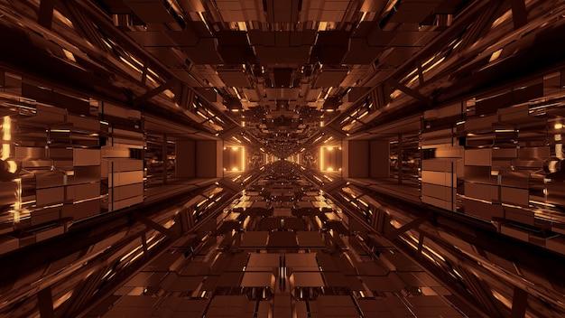 Futurystyczny Tunel Kosmiczny Science Fiction Ze świecącymi Błyszczącymi światłami Darmowe Zdjęcia