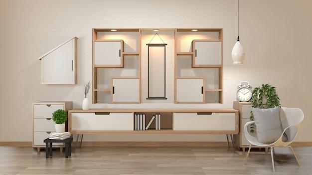 Gabinet I Dekoracja W Nowoczesnym Zen Pustym Pokoju, Minimalna ściana Półki, Renderowania 3d Premium Zdjęcia