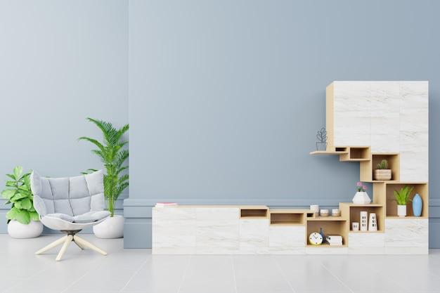 Gabinet tv z fotelem w nowoczesnym salonie na niebieskim tle ściany Premium Zdjęcia
