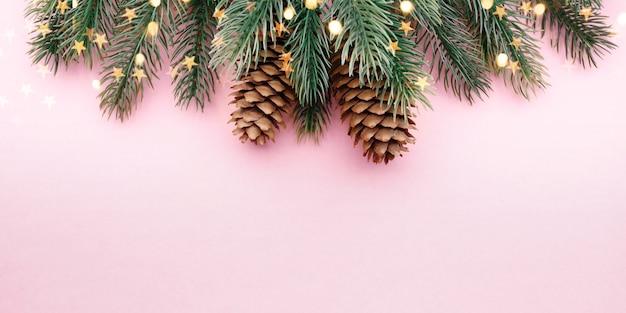 Gałąź Drzewa Z Szyszkami Na Różowym Tle Premium Zdjęcia