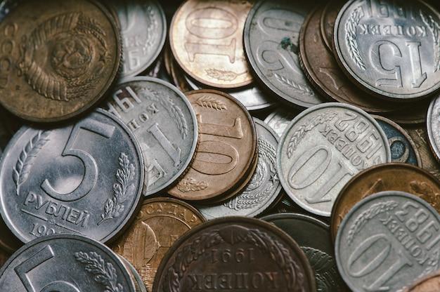Garść starych rosyjskich monet Premium Zdjęcia
