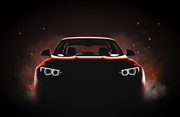 Generyczny I Pozbawiony Brandów Nowoczesny Samochód Sportowy Z Ogniem I Dymem Premium Zdjęcia