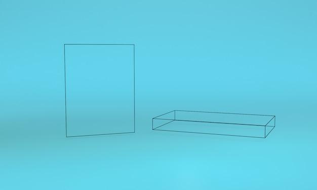 Geometryczna kształt scena minimalna, 3d rendering. Premium Zdjęcia