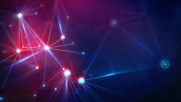 Geometryczny krajobraz i futurystyczna cyfrowa technologia blockchain fintech. Premium Zdjęcia