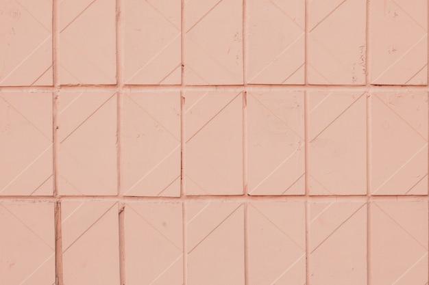 Geometryczny Wzór Miękkiej Pomarańczowej Płytki. Tekstura Różowa Pastelowa Ceramiczna Kafelkowa. Premium Zdjęcia
