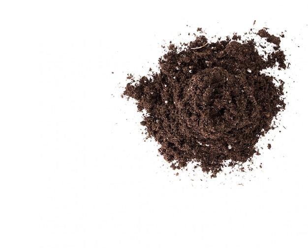 Glebowa lub brud sekcja odizolowywająca na białym tle Premium Zdjęcia