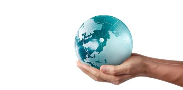 Glob, Ziemia W Ludzkiej Dłoni, Trzymająca świecącą Planetę. Obraz Ziemi Dostarczony Przez Nasa Premium Zdjęcia