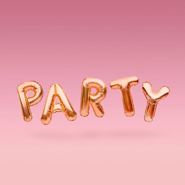 Golden Word Party Z Nadmuchiwanych Balonów Unoszących Się Na Różowym Tle. Litery Balonu Złotej Folii. Koncepcja Uroczystości. Premium Zdjęcia