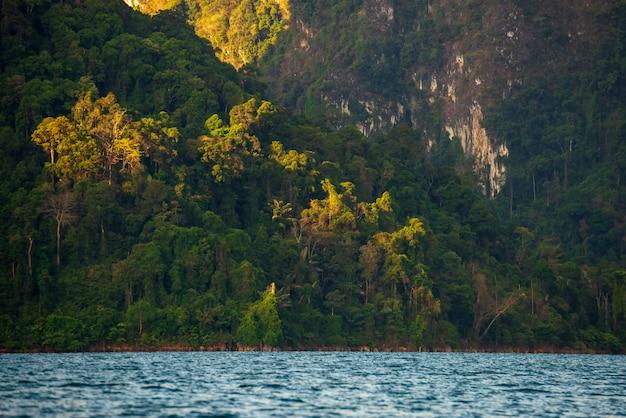 Góra w wodzie przy ratchaprapha tamą, guilin, tajlandia Premium Zdjęcia