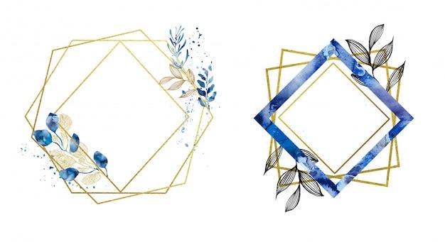 Gotowe złote i niebieskie geometryczne ramki Premium Zdjęcia