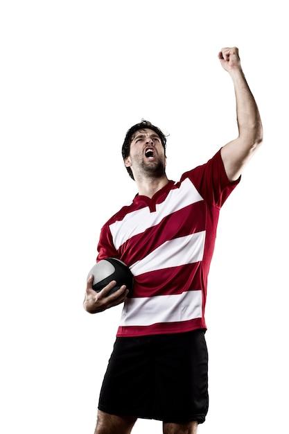 Gracz Rugby W Czerwonym Mundurze. Premium Zdjęcia