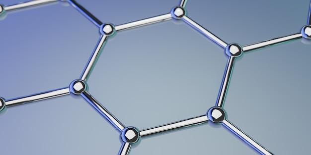 Grafenu cząsteczkowa nano technologii struktura na błękitnym tle - 3d rendering Premium Zdjęcia