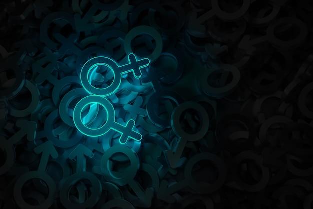 Grafika Koncepcyjna Na Temat Miłości 3d Osób Tej Samej Płci Premium Zdjęcia