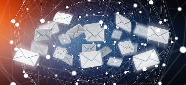 Grafika trójwymiarowa latająca ikona e-mail i latanie w sieci Premium Zdjęcia