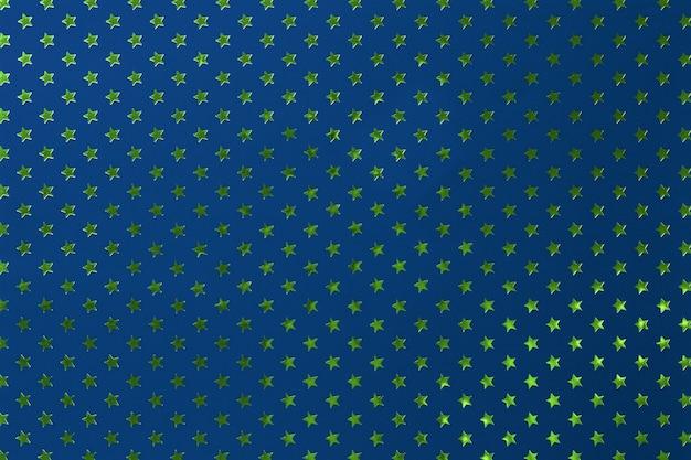 Granatowe Tło Z Metalowego Papieru Ze Złotymi Zielonymi Gwiazdkami. Premium Zdjęcia