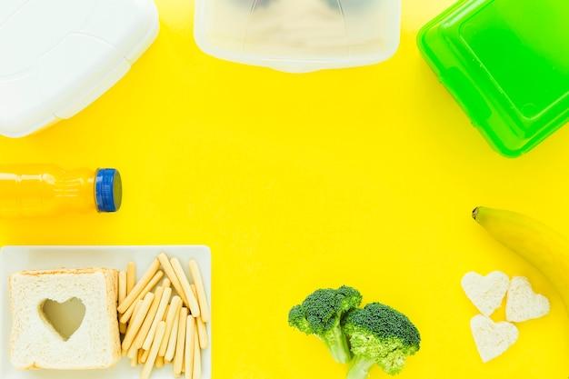 Granica od zdrowej żywności i lunchboxów Darmowe Zdjęcia