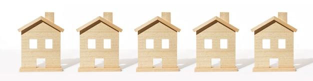 Grupa Drewniany Domu Model Na Białym Tle Premium Zdjęcia