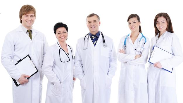 Grupa Pięciu Roześmianych Lekarzy Sukcesu Stojących Razem Darmowe Zdjęcia