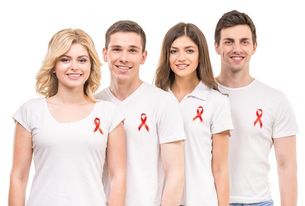 Grupa pozytywnych osób wspierających zapobieganie aids hiv. Premium Zdjęcia