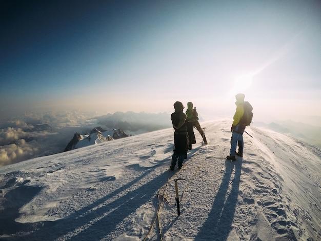Grupa Przyjaciół Wspinaczy Na Szczycie Mont Blanc Premium Zdjęcia