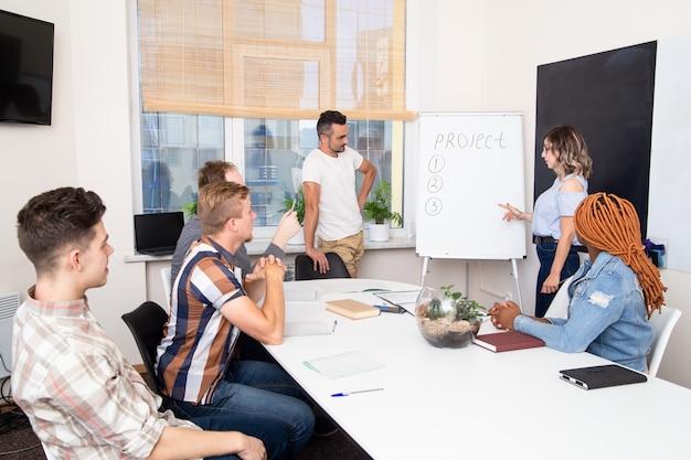 Grupa Studentów Biorących Udział W Szkoleniu Biznesowym Słucha Mówcy. Praca Zespołowa W Międzynarodowej Firmie. Kobieta Opowiada O Projekcie Premium Zdjęcia