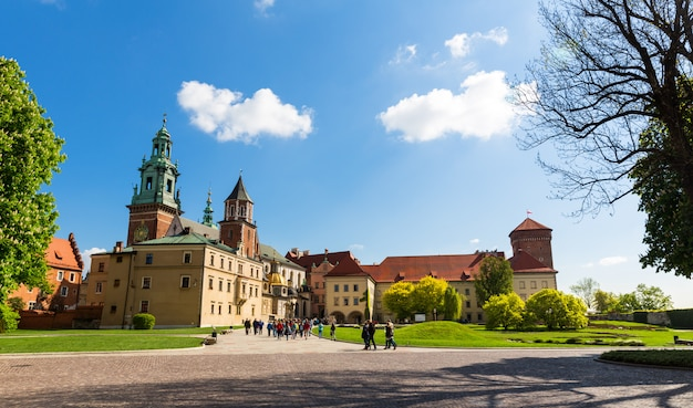 Grupa Turystów Na Wawelu, Kraków, Polska Premium Zdjęcia