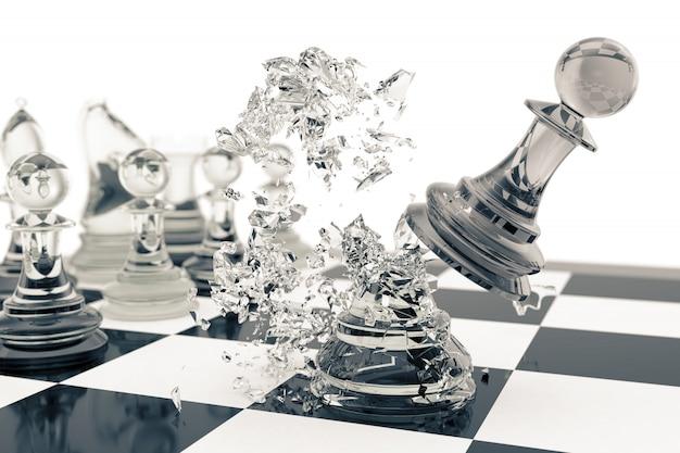 Gry W Szachy, Zwycięstwo, Sukces W Konkurencji, Przywództwo W Biznesie, Przejrzyste Pionki Premium Zdjęcia