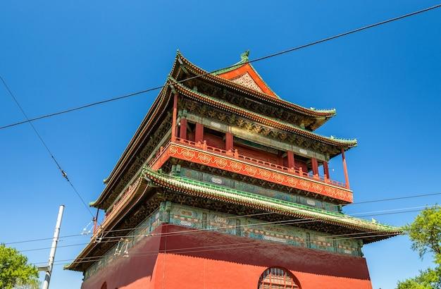 Gulou Lub Drum Tower W Pekinie - Chiny Premium Zdjęcia