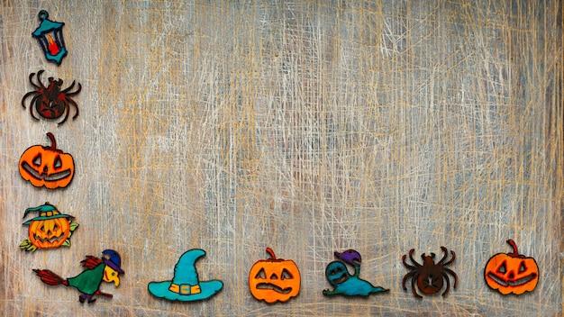 Halloween Rama Plików Cookie Lub Symboli Halloween Na Szarym Tle Z Miejsca Kopiowania Tekstu. Premium Zdjęcia