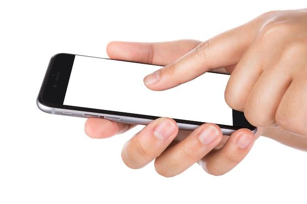 Hand gospodarstwa smartphone z pustym ekranem i białym tle Darmowe Zdjęcia