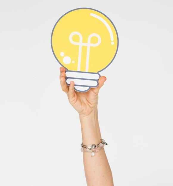 Hand Show Pomysły Na żarówki Pomyśl Premium Zdjęcia