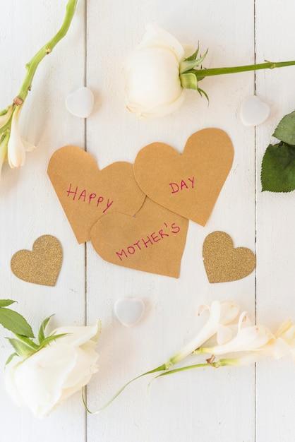 Happy Mothers Day Napis Z Białych Róż Darmowe Zdjęcia