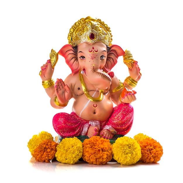 Hinduski Bóg Ganesha. Ganesha Idol Na Bielu. Premium Zdjęcia