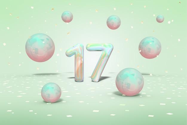Holograficzna liczba 17 z latającymi błyszczącymi neonowymi kulkami i złotymi konfetti Premium Zdjęcia