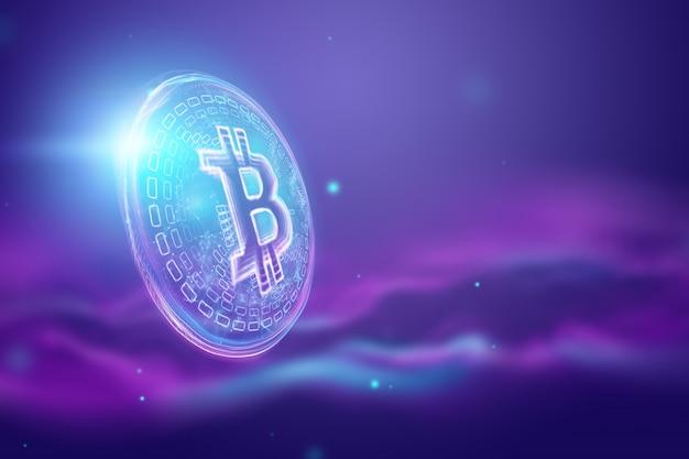 Hologram bitcoinowy, kryptowaluta, pieniądz elektroniczny, technologia blockchain, finanse Premium Zdjęcia