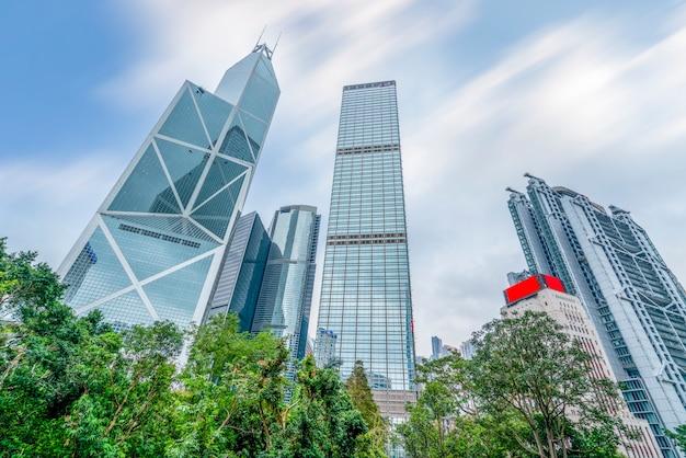 Hong Kong City Skyline I Architektoniczny Krajobraz Premium Zdjęcia