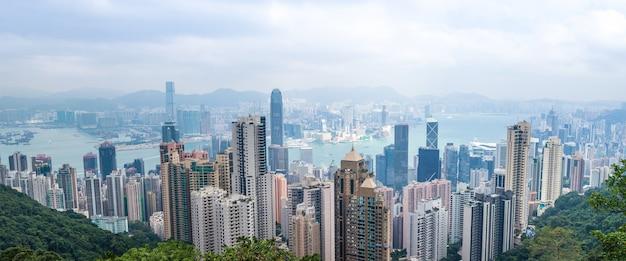 Hong Kong Pejzażu Miejskiego Widoku Hong Kong Wyspa Od Szczytu Premium Zdjęcia
