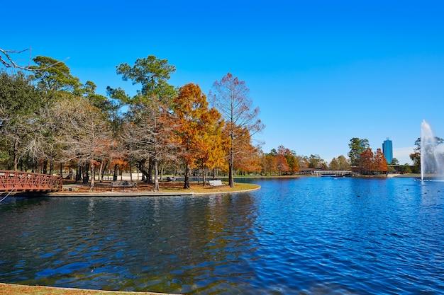 Houston Hermann Park Mcgovern Jezioro Premium Zdjęcia