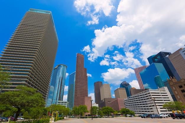 Houston Pejzaż Miejski Pejzaż Miejski W Teksas Usa Premium Zdjęcia