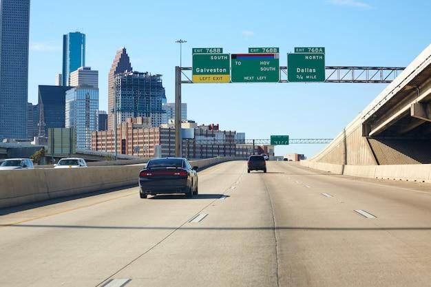 Houston Texas Znak Drogowy W Centrum Usa Premium Zdjęcia