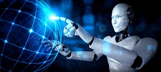 Humanoidalny Robot Ai Dotykający Ekranu Hologramu Przedstawia Koncepcję Globalnej Komunikacji Premium Zdjęcia